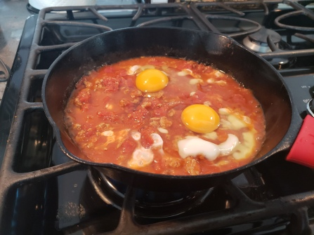 "Leftover sauce? No problem - it makes a lovely ""bed"" for eggs the next morning - A very Italian thing to do!!"